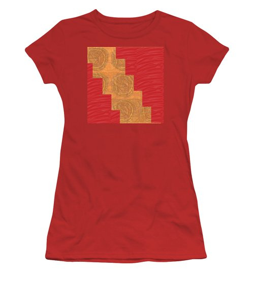 Women's T-Shirt (Junior Cut) featuring the photograph Golden Circles Red Sparkle  by Navin Joshi