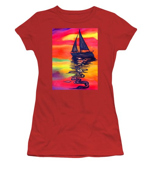 Women's T-Shirt (Junior Cut) featuring the painting Golden Dreams by Lil Taylor