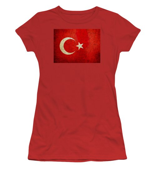 Grunge Turkey Flag Women's T-Shirt (Athletic Fit)