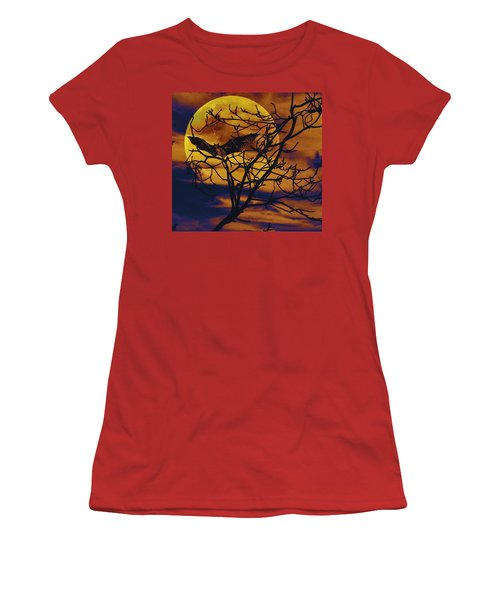 Women's T-Shirt (Junior Cut) featuring the painting Halloween Full Moon Terror by David Mckinney