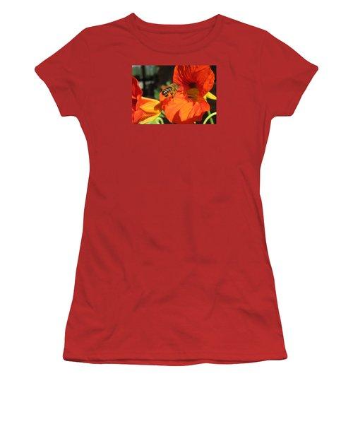 Honeybee Entering Nasturtium Women's T-Shirt (Junior Cut) by Lucinda VanVleck
