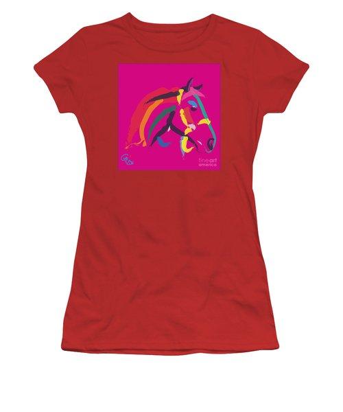 Horse - Colour Me Strong Women's T-Shirt (Junior Cut) by Go Van Kampen