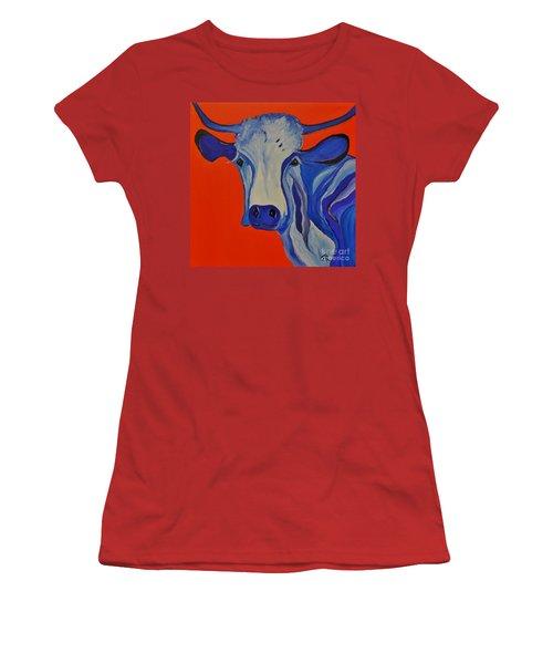 How Now Blue Cow Women's T-Shirt (Junior Cut) by Janice Rae Pariza