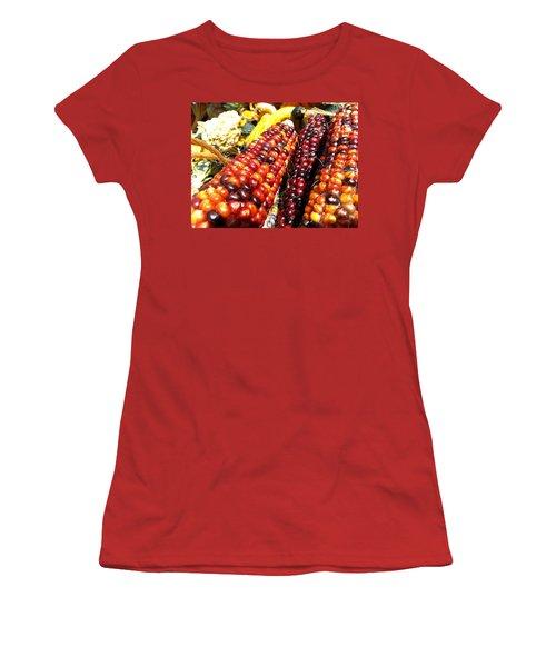 Women's T-Shirt (Junior Cut) featuring the photograph Indian Corn by Caryl J Bohn