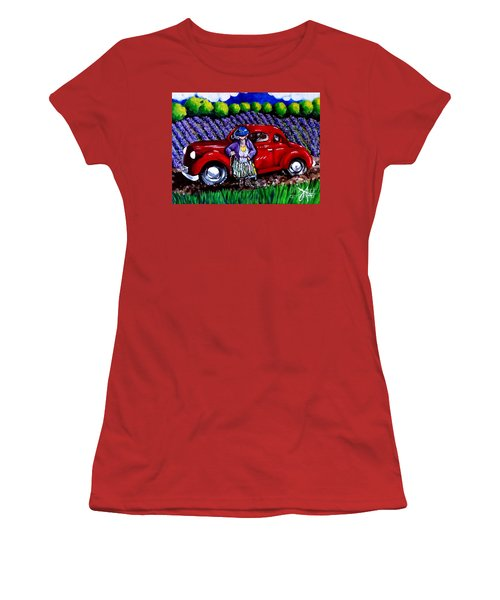 Women's T-Shirt (Junior Cut) featuring the painting J. C. 1931 Fishing In Red by Jackie Carpenter
