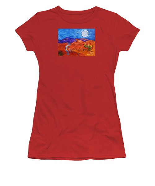 Kokopelli Playing To The Moon Women's T-Shirt (Junior Cut) by Ellen Levinson