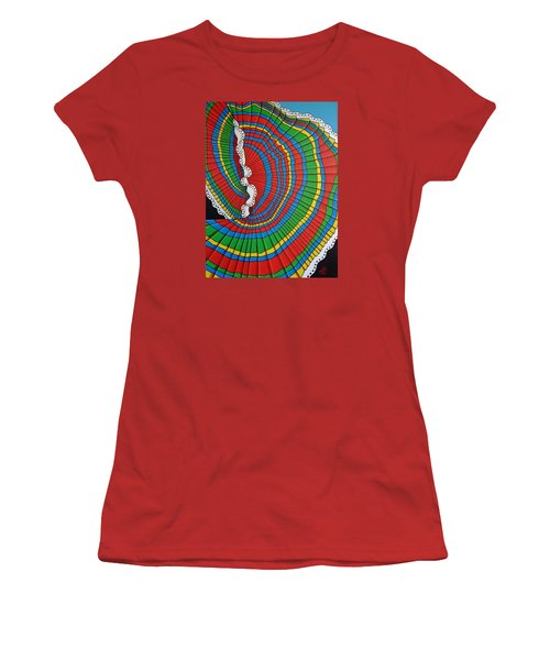 Women's T-Shirt (Junior Cut) featuring the painting La Falda Girando - The Spinning Skirt by Katherine Young-Beck