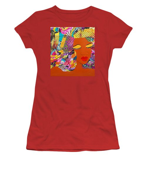 Women's T-Shirt (Junior Cut) featuring the tapestry - textile Lady J by Apanaki Temitayo M
