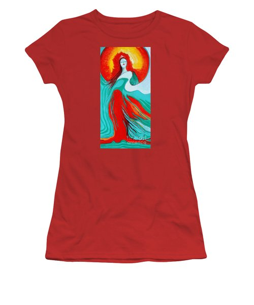 Women's T-Shirt (Junior Cut) featuring the painting Lady Of Two Worlds by Alison Caltrider