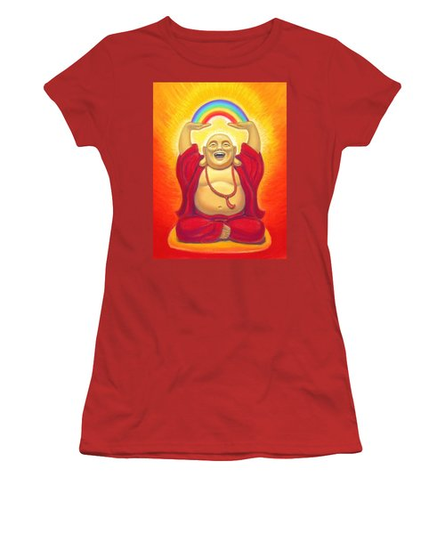 Laughing Rainbow Buddha Women's T-Shirt (Junior Cut) by Sue Halstenberg