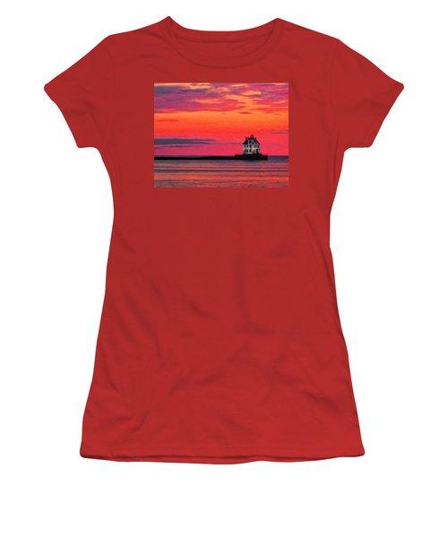 Lorain Lighthouse At Sunset Women's T-Shirt (Junior Cut) by Michael Pickett