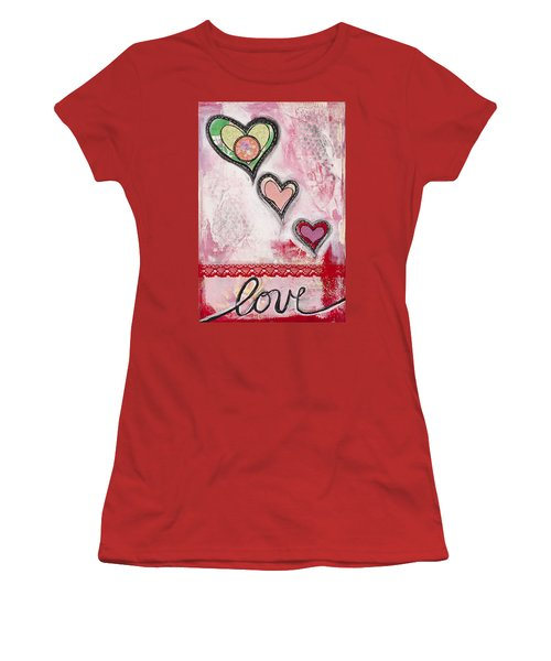 Women's T-Shirt (Junior Cut) featuring the mixed media Love  by Stanka Vukelic