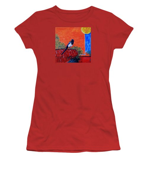 Magpie Singing At The Bath Women's T-Shirt (Junior Cut) by Xueling Zou