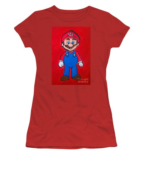 Women's T-Shirt (Junior Cut) featuring the painting Mario by Marisela Mungia