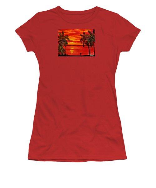 Maui Sunset Women's T-Shirt (Junior Cut) by Teresa Wegrzyn