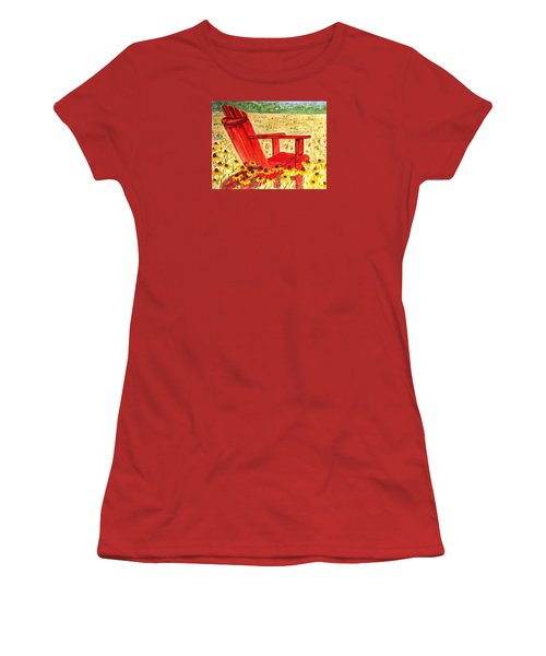 Women's T-Shirt (Junior Cut) featuring the painting Meet Me In The Meadow by Angela Davies