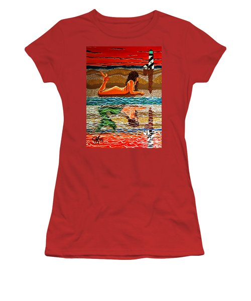Women's T-Shirt (Junior Cut) featuring the painting Mermaid Day Dreaming  by Jackie Carpenter