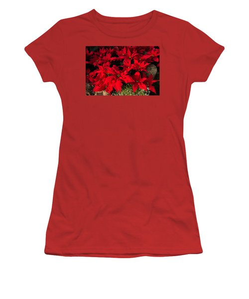Merry Scarlet Poinsettias Christmas Star Women's T-Shirt (Athletic Fit)