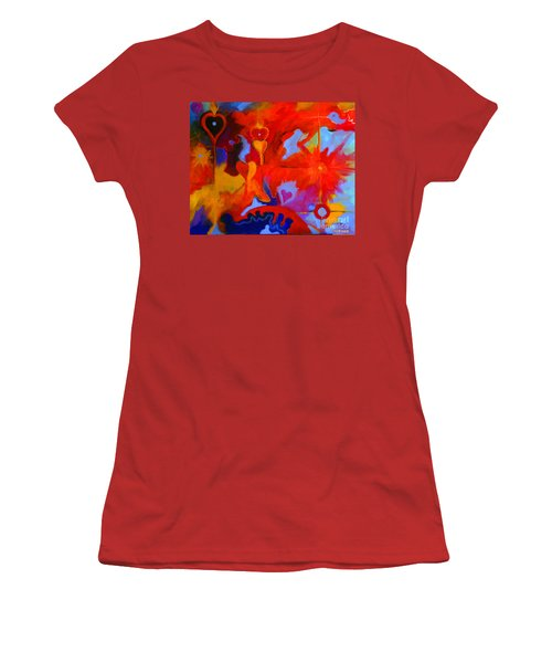 Women's T-Shirt (Junior Cut) featuring the painting Message Of Love by Alison Caltrider