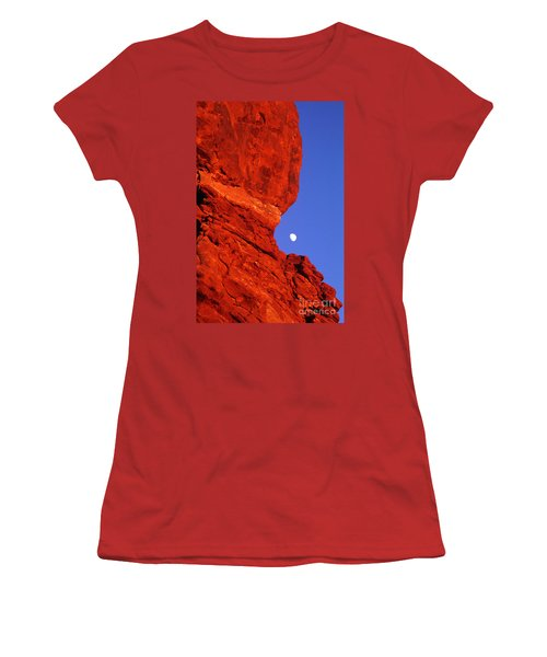 Women's T-Shirt (Junior Cut) featuring the photograph Moonrise Balanced Rock Arches National Park Utah by Dave Welling