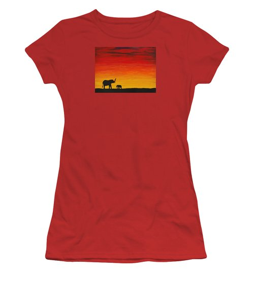 Women's T-Shirt (Junior Cut) featuring the painting Mother Africa 1 by Michael Cross