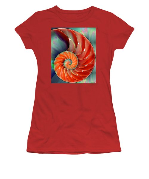 Women's T-Shirt (Athletic Fit) featuring the painting Nautilus Shell - Nature's Perfection by Sharon Cummings