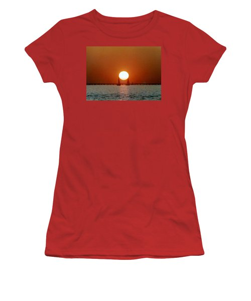 Women's T-Shirt (Junior Cut) featuring the photograph New Orleans Sailing Sun On Lake Pontchartrain by Michael Hoard