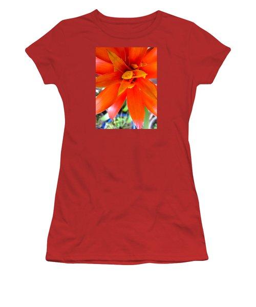 Orange Bromeliad Women's T-Shirt (Junior Cut) by Lehua Pekelo-Stearns