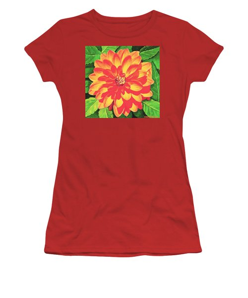 Orange Dahlia Women's T-Shirt (Athletic Fit)