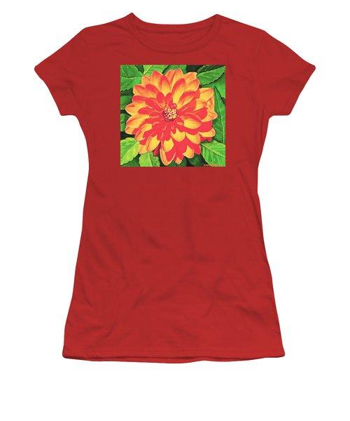 Orange Dahlia Women's T-Shirt (Junior Cut) by Sophia Schmierer