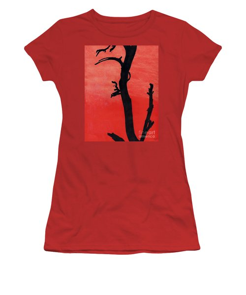 Women's T-Shirt (Junior Cut) featuring the drawing Orange Sunset Silhouette Tree by D Hackett