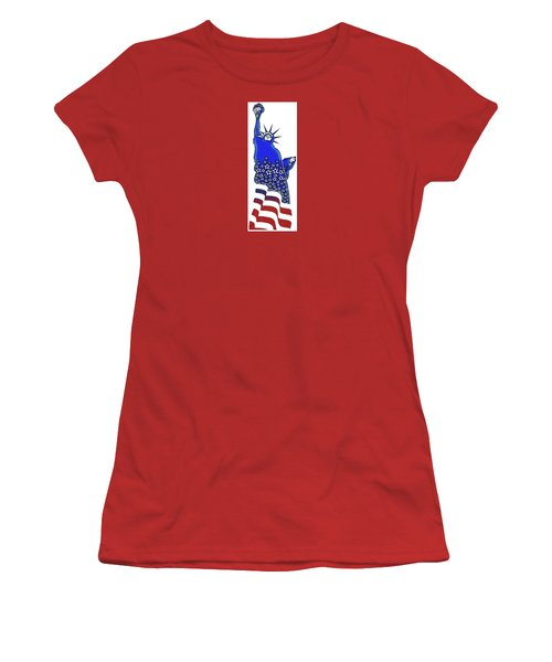 Patriotic Lady Liberty Women's T-Shirt (Athletic Fit)
