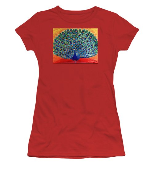 Women's T-Shirt (Junior Cut) featuring the painting Peacock By Jasna Gopic by Jasna Gopic