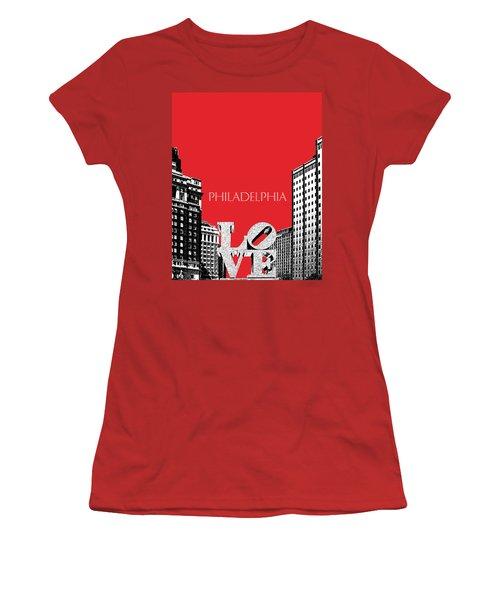 Philadelphia Skyline Love Park - Red Women's T-Shirt (Athletic Fit)