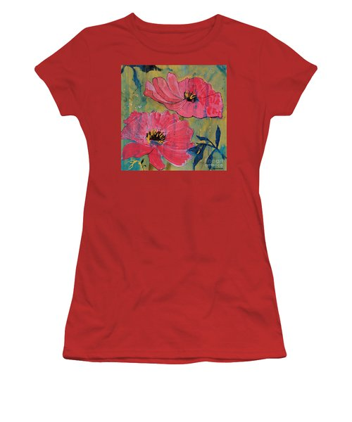 Women's T-Shirt (Junior Cut) featuring the painting Pink Blossoms by Robin Maria Pedrero