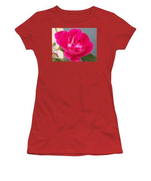 Women's T-Shirt (Junior Cut) featuring the photograph Pink Rose by Jewel Hengen