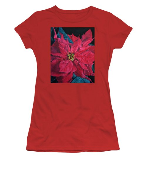 Poinsettia II Painting Women's T-Shirt (Athletic Fit)