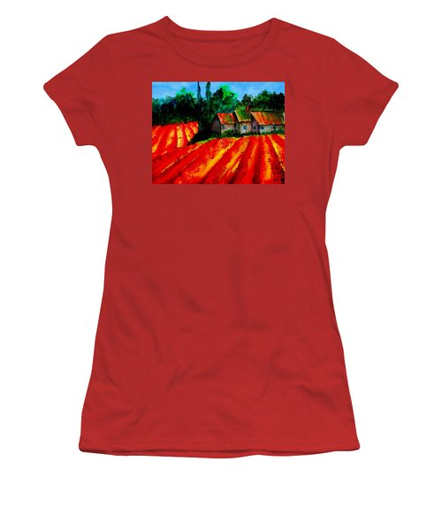Women's T-Shirt (Junior Cut) featuring the painting Poppy Field  Sold by Lil Taylor