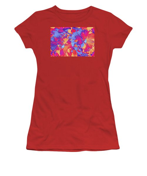 Red And Blue Pansies Pop Art Women's T-Shirt (Junior Cut) by Dora Sofia Caputo Photographic Art and Design