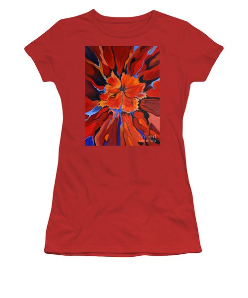 Women's T-Shirt (Junior Cut) featuring the painting Red Bloom by Alison Caltrider