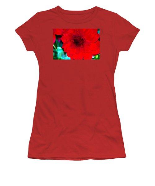 Women's T-Shirt (Junior Cut) featuring the photograph Red Dahlia by Lehua Pekelo-Stearns
