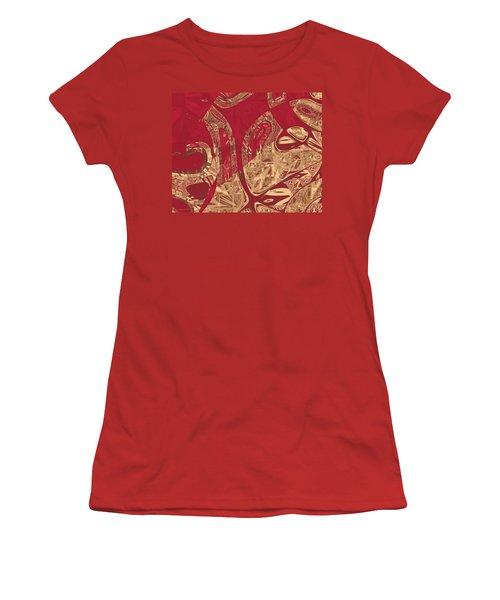 Red Geranium Abstract Women's T-Shirt (Junior Cut) by Judi Suni Hall