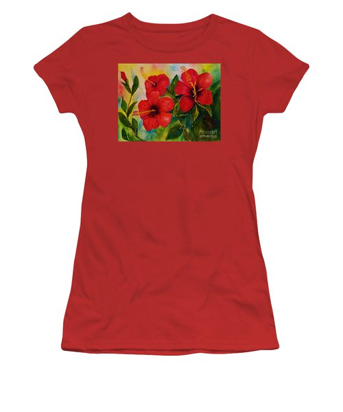 Red Hybiscus  Women's T-Shirt (Athletic Fit)