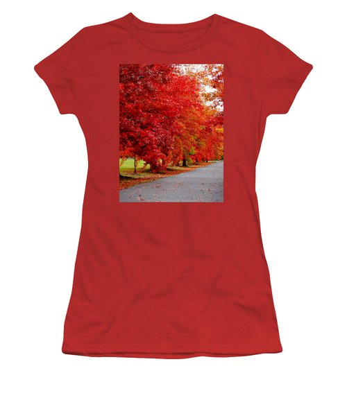 Red Leaf Road Women's T-Shirt (Athletic Fit)
