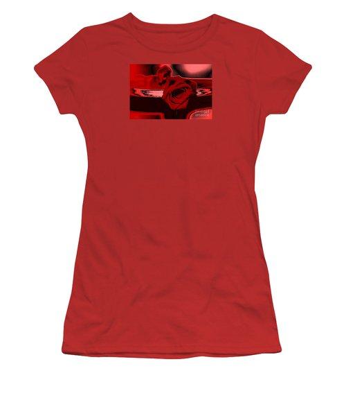 Red Passion. Rose Women's T-Shirt (Junior Cut) by Oksana Semenchenko