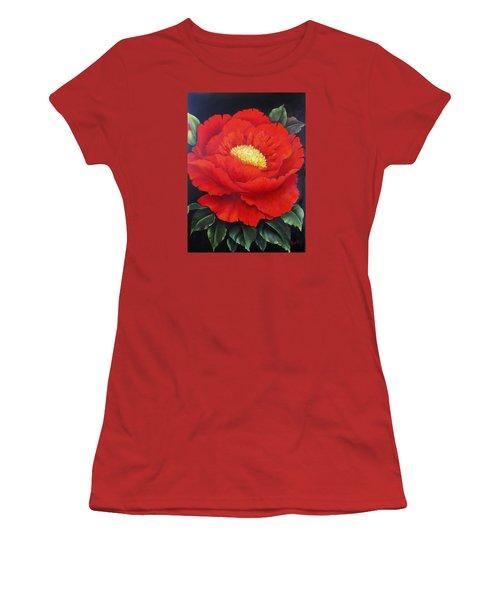 Red Peony Women's T-Shirt (Junior Cut) by Katia Aho