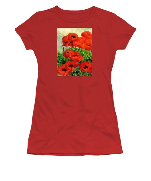 Red  Poppies In Shade Colorful Flowers Garden Art Women's T-Shirt (Junior Cut) by Elizabeth Sawyer
