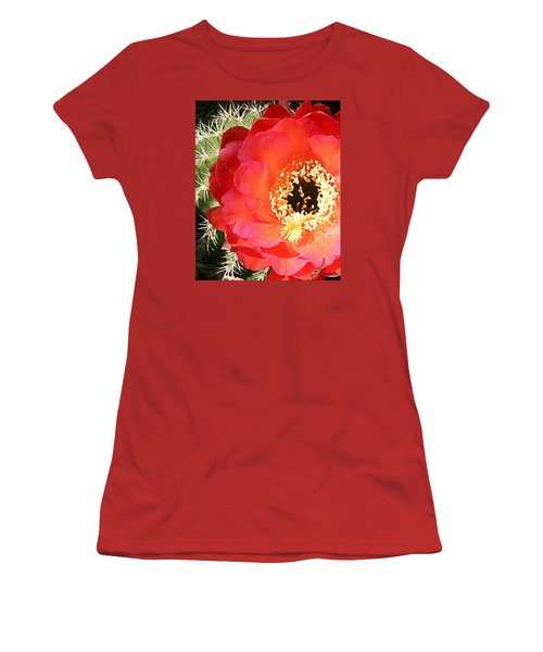 Red Prickly Pear Blossom Women's T-Shirt (Junior Cut) by Ellen Henneke
