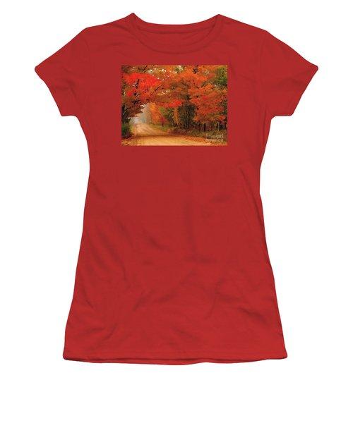 Red Red Autumn Women's T-Shirt (Junior Cut) by Terri Gostola