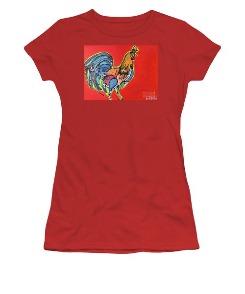 Women's T-Shirt (Junior Cut) featuring the painting Red Rooster by Nicole Gaitan